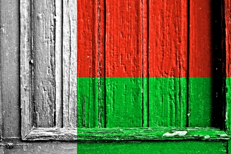 flag of Madagascar painted on wooden frame
