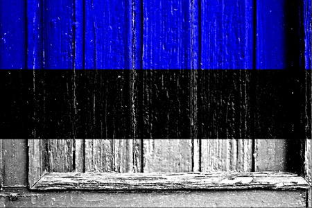 flag of Estonia painted on wooden frame
