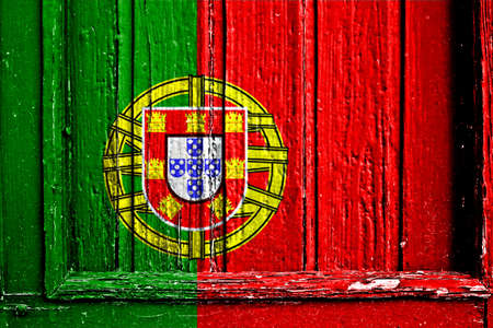 flag of Portugal painted on wooden frame