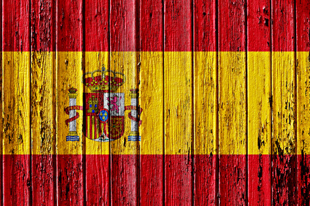 flag of Spain painted on wooden frame