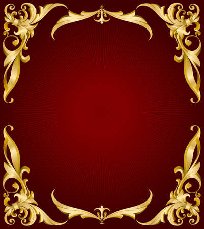 Illustration for golden frame on red back with lights  - Royalty Free Image
