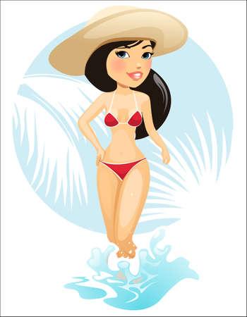 Vector illustration of summer girl in hat