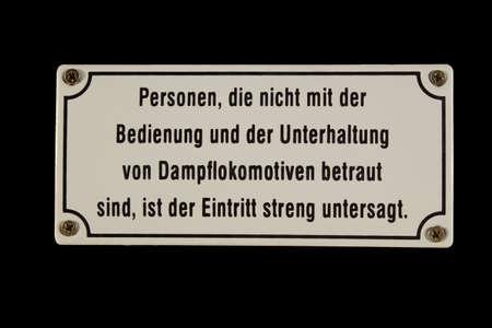German railway sign Personen Bedienung Dampflokomotiven