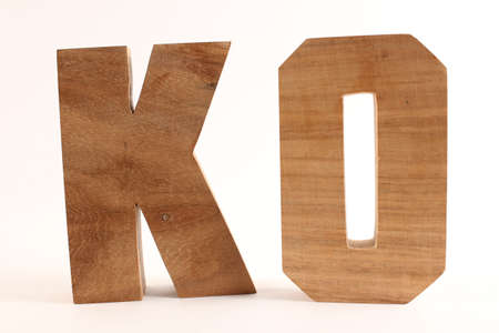 KO text from wood letters Buchstaben white Background straight
