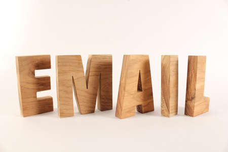 Email text from wood letters Holz Buchstaben white Background