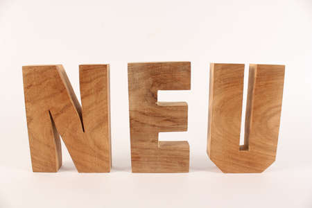 Neu text from wood letters Holz Buchstaben white Background straight