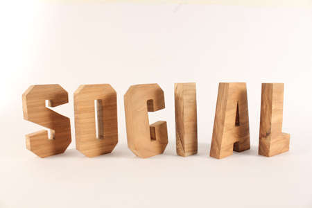 Social text from wood letters Holz Buchstaben white Background