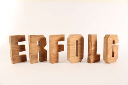 Erfolg text from wood letters Holz Buchstaben white Background