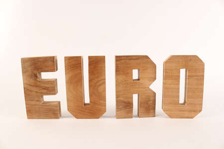 Euro text from wood letters Holz Buchstaben white Background straight
