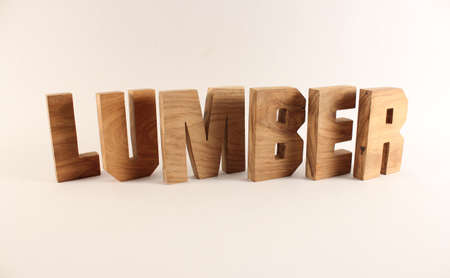 Lumber text from wood letters Holz Buchstaben white Background