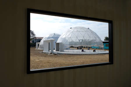 Geodesic plastic dome.