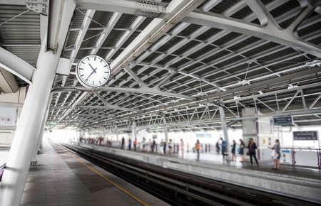 Train station background,Bangkok, Thailand (Focus on clock)