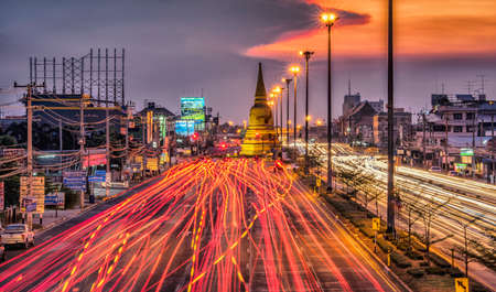 Photo for Light traffic on the road at night around the Pagoda,Ayutthaya. Thailand - Royalty Free Image