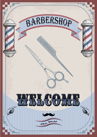 Frame border scissors and comb sign shingle for barber, coiffeur, haircutter, vintage retro inscription barbershop. vertical closeup front view old school signboard  barber's salon