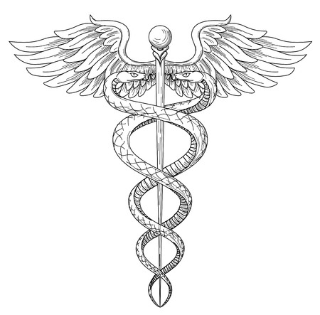 Illustration for Cadeus Medical medecine pharmacy doctor acient high detailed symbol. Vector hand drawn black linear tho snakes with wings sword background. Greek retro culture hospital old element. Tattoo design. - Royalty Free Image
