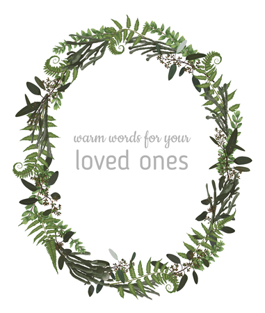 Illustration pour Beautiful leafy frame wreath of eucalyptus, brunia, fern and boxwood branches isolated on white. For wedding invitations, vignettes, postcards, posters, labels - image libre de droit