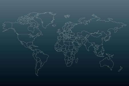 Illustration pour White outline world map. Flat template for banner, poster, web-site, report, infographic. Black gradient background.Globe similar worldmap silhouette. Travel concept. - image libre de droit