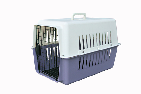 Photo for Pet supplies about travel :Pet carrier for traveling with a pet on isolated white - Royalty Free Image