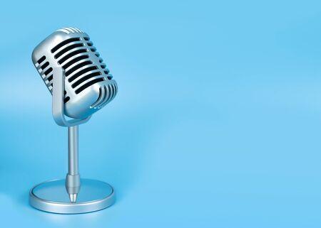 Photo pour Retro microphone on blue background - image libre de droit