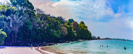 Manuel Antonio NP, Costa Rica - April 8, 2017:  Beautiful and secluded Playa Manuel Anotnio on the Pacific Coast of Costa Rica