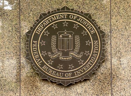 Foto für Washington, DC - June 02, 2018: FBI, Federal Bureau of Investigation seal on the Headquarters Edgar Hoover FBI Buildingin in Washington. - Lizenzfreies Bild