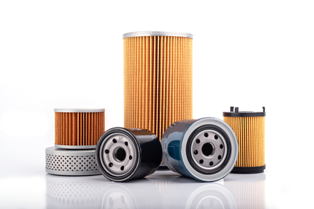 Photo pour Auto parts accessories :  Oil , fuel or air filter for engine car  isolated on white background. - image libre de droit