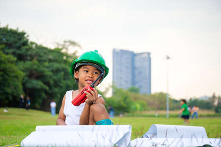 Photo pour Portrait of happy african american kids boy playing outdoors in a park, Kid playing concept. - image libre de droit