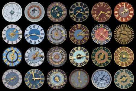 Photo for Collection of multicolored ancient church tower clocks in different sizes and forms with roman numbers in regular rows on black background - Royalty Free Image