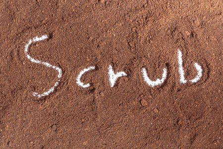 coffee ground with scrub text on