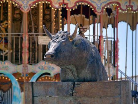 black Bull's statue in Saintes-Maries-de-la-Mer, France