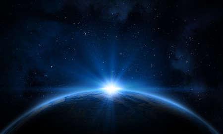 Earth, galaxy, nebula and Sun.