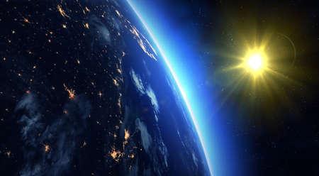 Earth and Sun. Sunrise over Earth with stars.