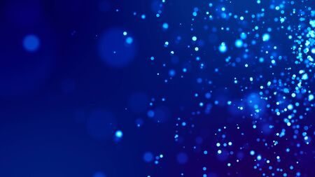 Photo for Science fiction. Glow blue particles on blue background are hanging in air for bright festive presentation with depth of field and light bokeh effects. Version 1 - Royalty Free Image