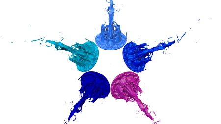 paint flew out of the jar on white background. Simulation of 3d splashes of ink on a musical speaker that play music. beautiful splashes as a bright background. Multicolor 31