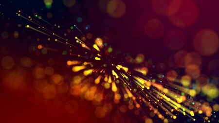 Foto de 3d abstract beautiful background with colorful glowing particles, depth of field and bokeh effect. Abstract explosion of multicolored shiny particles or light rays like laser show. - Imagen libre de derechos