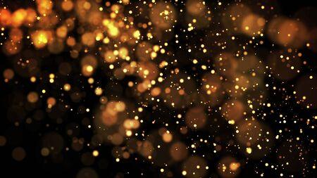 Photo pour composition of gold particles with a depth of field 3d render - image libre de droit