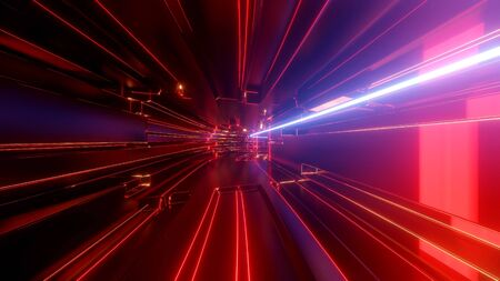 Foto de Sci-fi tunnel with neon lights. Abstract high-tech tunnel as background in the style of cyberpunk or high-tech future. - Imagen libre de derechos
