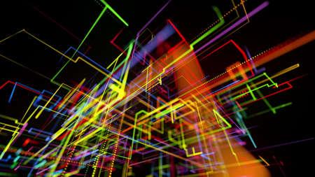 Foto de 3d rendering sci-fi bg like abstract hologram. Multi color neon glow lines form digital 3d space. Connection concept, visualization of multiple calculations of various branches neural network or AI - Imagen libre de derechos