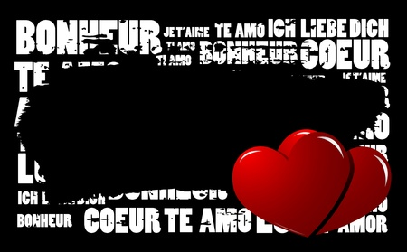 Grunge Love word cloud vector background with hearts