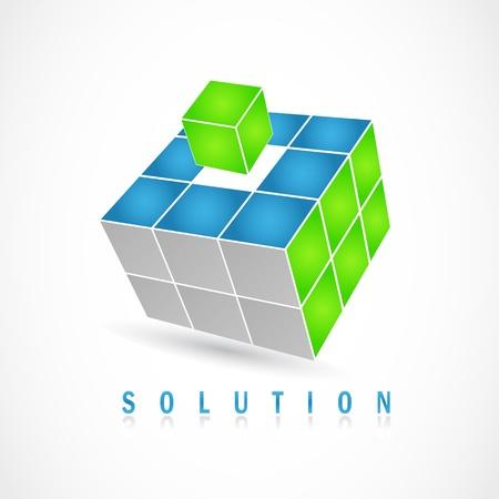 Illustration pour Cube puzzle in vector with 3d effect - image libre de droit