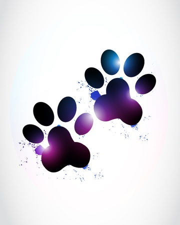 abstract bright paw prints