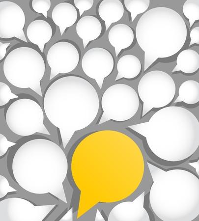 Illustration pour paper speech clouds, standing out concept - image libre de droit