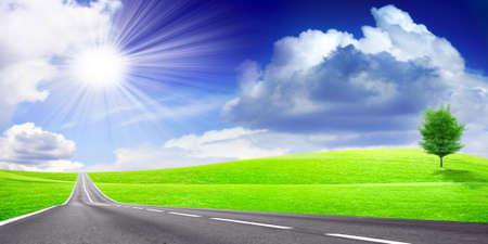 abstract scene country road under blue solar sky