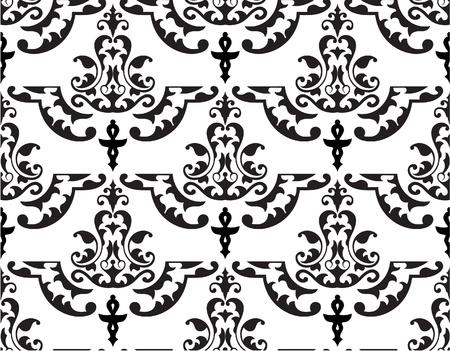 Baroque seamless pattern on white
