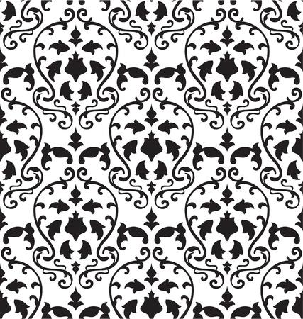 Victorian seamless pattern on white