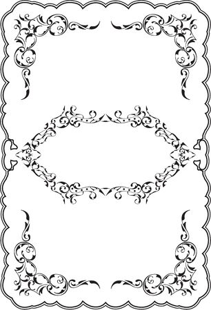 Art ornament fine scroll frame on white
