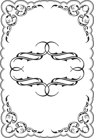 Art ornament scroll frame on white