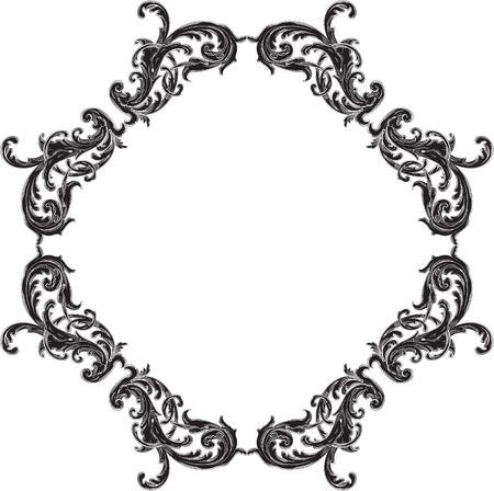 Baroque black vintage page art element on white