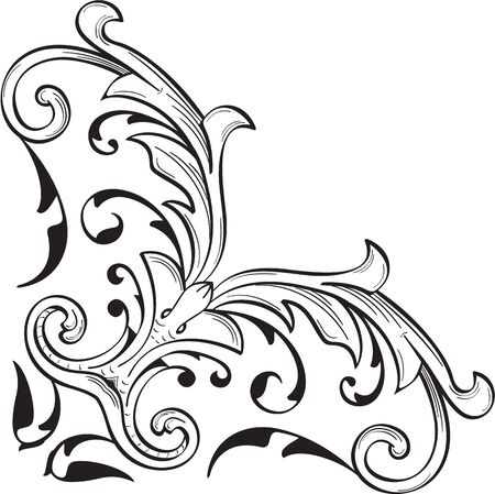 Fine corner art baroque swirl element on white