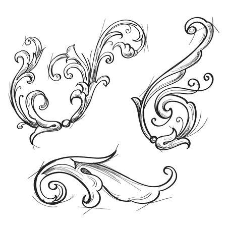 Illustration pour Acanthus set in sketch style - image libre de droit